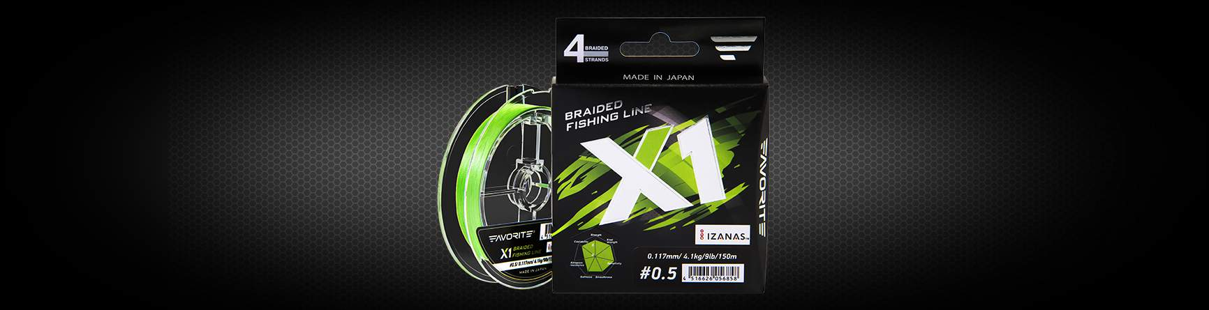 Favorite X1 PE 4x 150m světle zelená #0.5/0.117mm 9lb/4.1kg