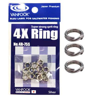 Vanfook 4x Ring 4R-75S pevnostní kroužky 120lb/54kg 9ks