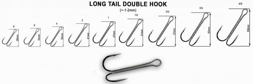 Long Tail Double Hook vel. 2/0, balení 3 ks