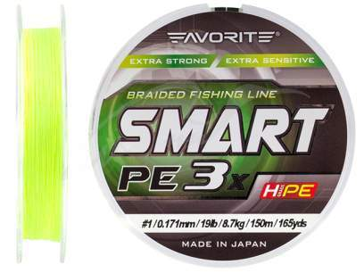PE Line Favorite Smart PE 3x 150м (fl.yellow) #1.2/0.187mm 20lb/9.5kg